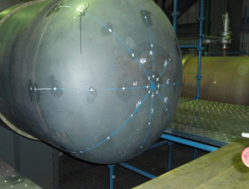 Pressure vessel dished end wall thickness survey