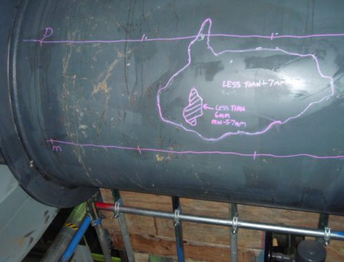 Pressure vessel shell wall thickness survey